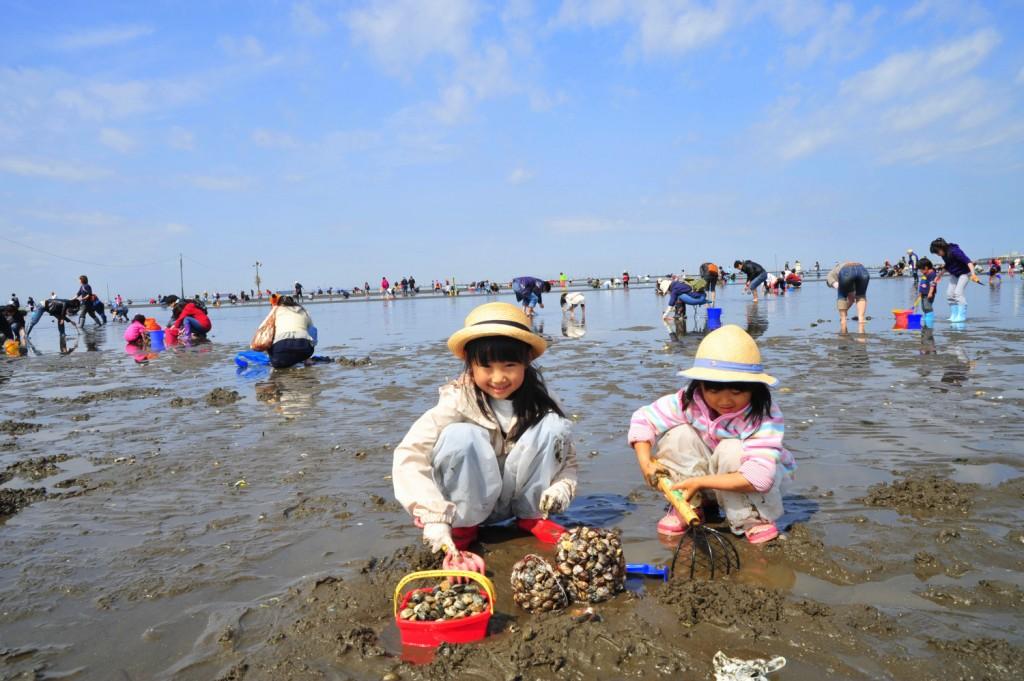 遠浅の富津海岸で潮干狩り