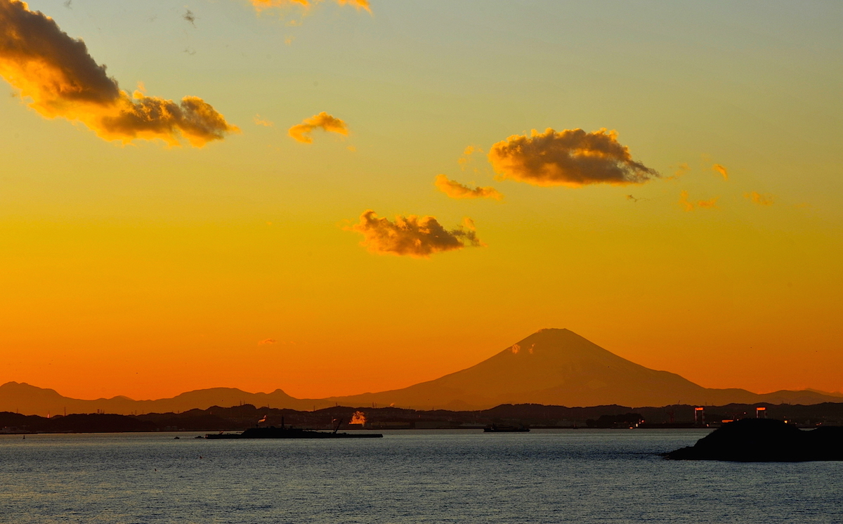 富津岬展望台から夕景