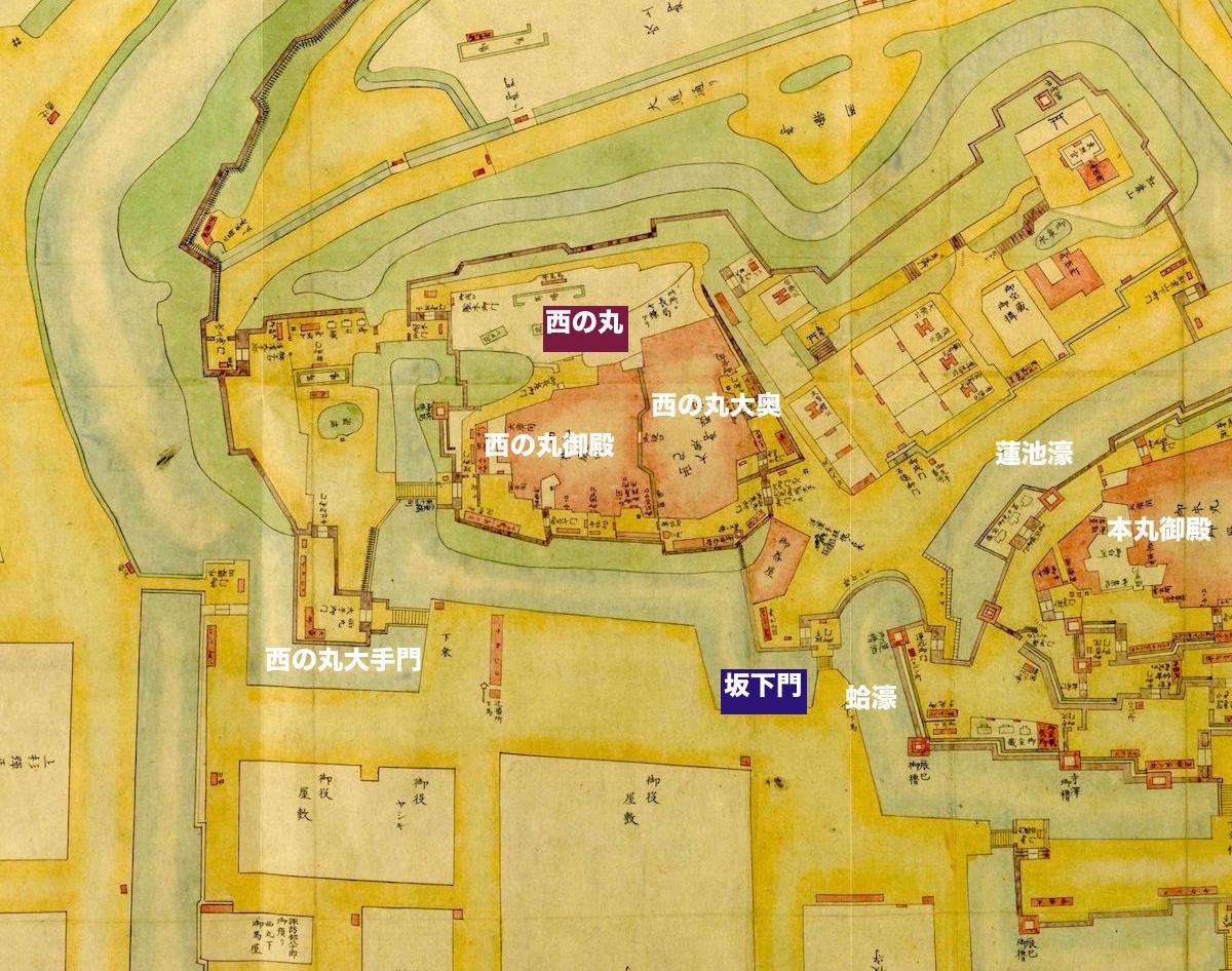 江戸城西の丸古地図