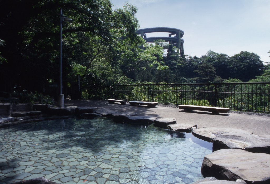 天城荘の露天風呂からリープ橋を眺望